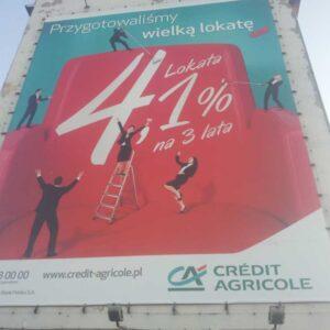 Montaż banera reklamowego Credit Agricole