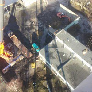 Prace na kominie - widok z góry